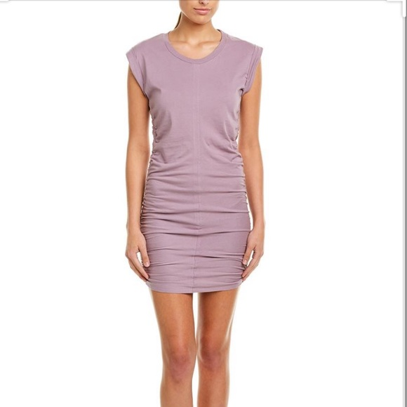 NWT SPLENDID CASUAL LAVENDER RUCHED BODY CON DRESS